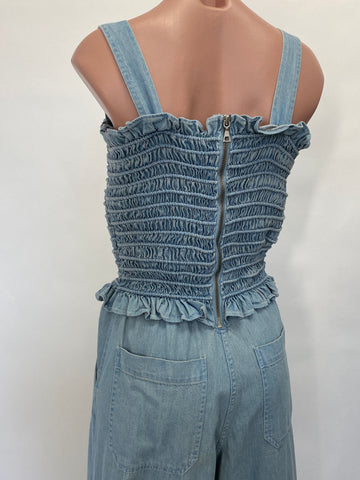SEA Smocked Denim Jumpsuit