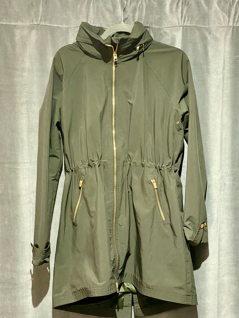 Athleta Hunter Green Cinched Waist Rain Jacket