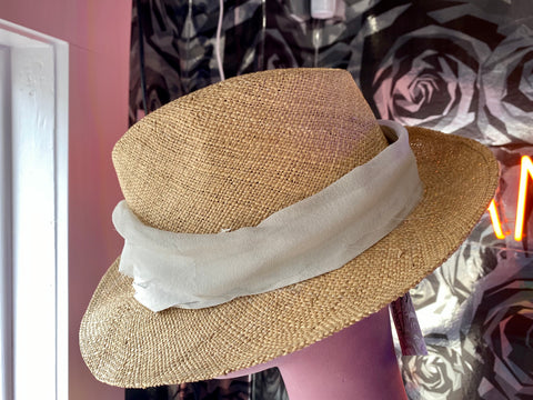 LANVIN Straw Hat with Light Grey Flower