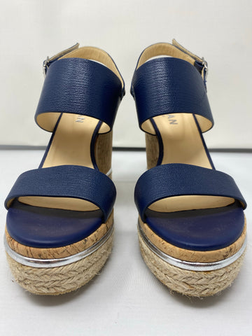 Hogan Cork Wedge with Navy Leather Strap