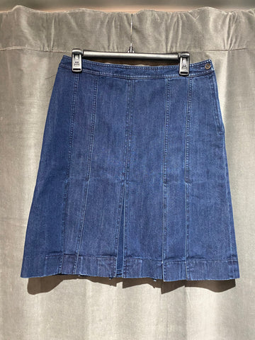 Michael Kors Collection Dark Blue Denim Skirt with Flaps