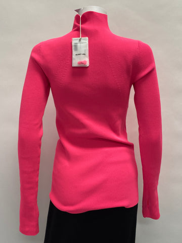 Helmut Lang Neon Pink Turtleneck Sweater