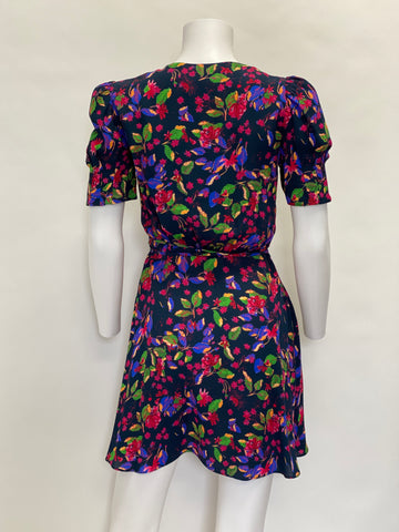 Saloni Floral Short Sleeve Mini Dress