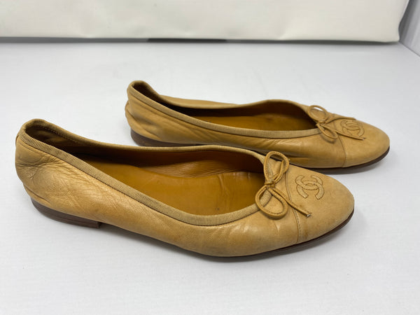 Chanel Camel Interlocking CC Ballet Flat with a Bow