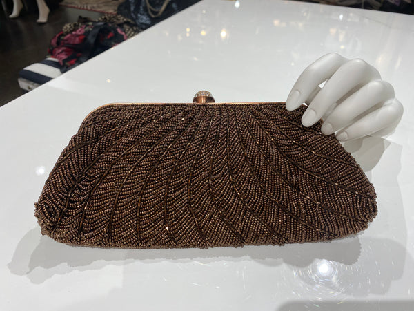 Vintage: Bronze Beaded Clutch With diamond Clasp