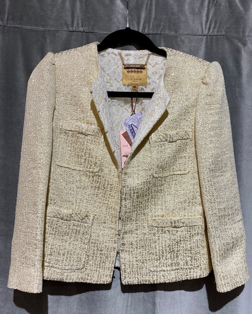 Ted Baker Bow Pocket Suit Cropped Jacket Gold and Beige with Lace Interior
