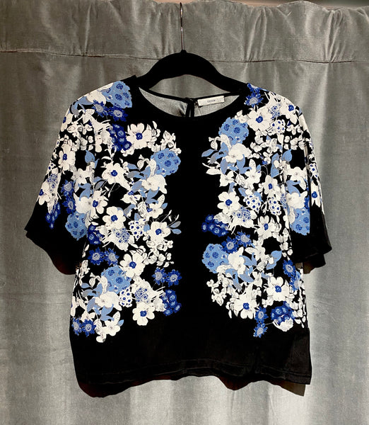 Erdem Black Silk Short Sleeve Top with Blue and White Flowers