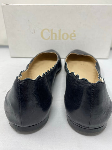 Chloe Lauren Black Leather Scalloped Round Toe Flats
