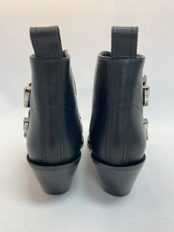 R13 Black Leather Zip Bootie with Buckles
