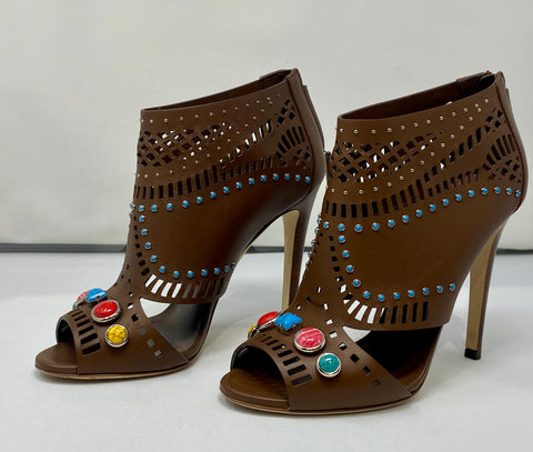 Gucci Brown Leather Peep Toe Heel with Colored Gems