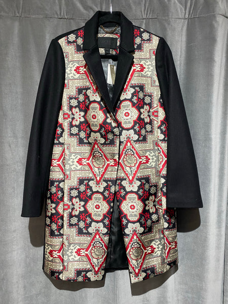 J. Crew Collection Black Wool Coat with Silk Printed Front