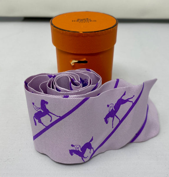 Hermes Silk Twilly Scarf Lavender with Horse