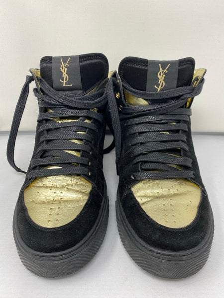 YSL Black Suede High Top Sneaker with Gold Silk Lining