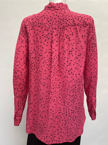 GANNI Pink Silk Top with Black Floral Print