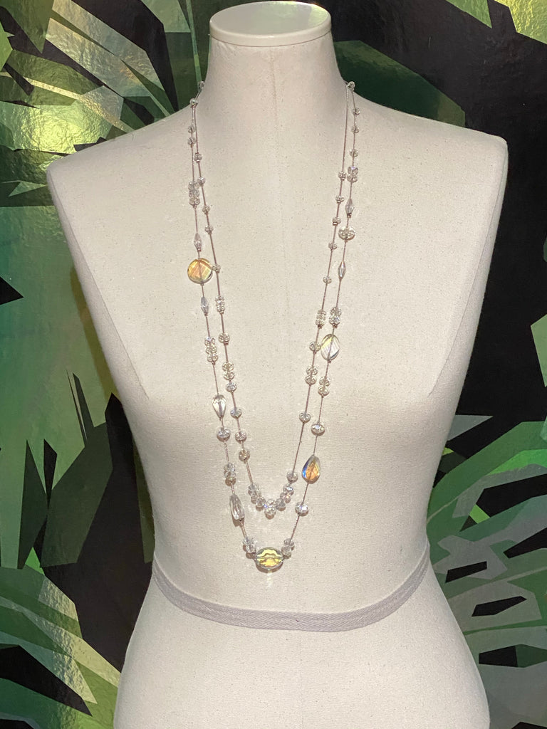 Clear Crystal Bead Double Strand Necklace