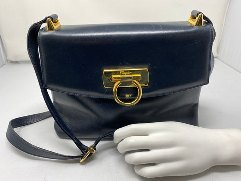 Vintage: Ferregamo Black Leather Medium Cross body Bag with Gold hardware