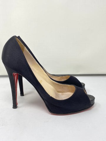 Christian Louboutin Black Satin Peep Toe Platform Pump