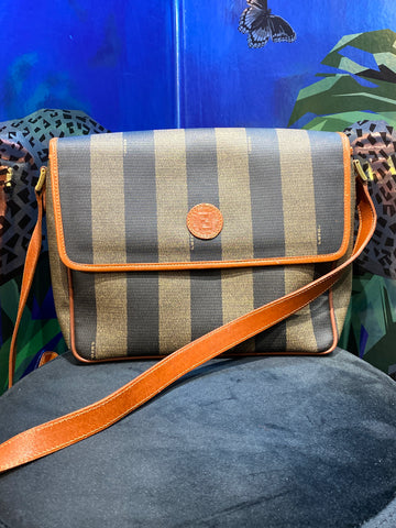 Vintage: Fendi Striped Single Flap Crossbody Bag with Brown Leather Trim