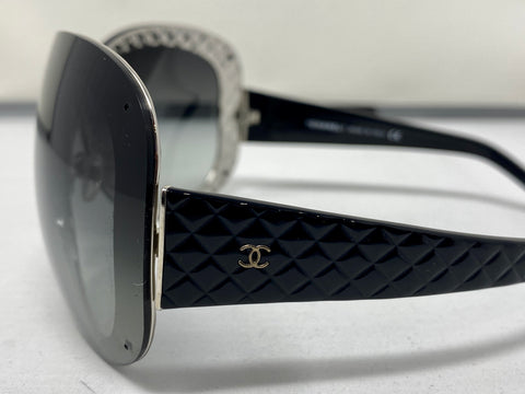 Chanel Women's Oversize Black Plastic Shield Quilted sunglasses
