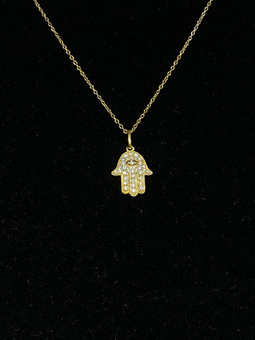 Gold Plated Hamsa Necklace