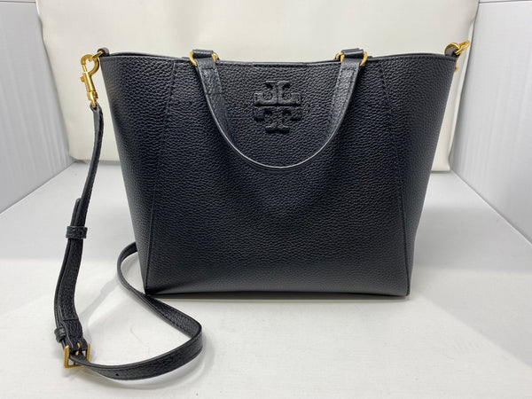 Tory Burch Black Pebbled Leather Top Handle Cross Body Bag