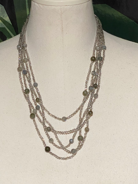 Multi Strand Crystal Silver/Grey  beaded necklace