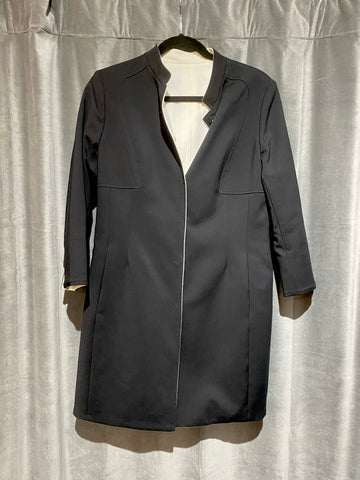 Black and White Reversible Coat Collarless Coat 3/4 Sleeves