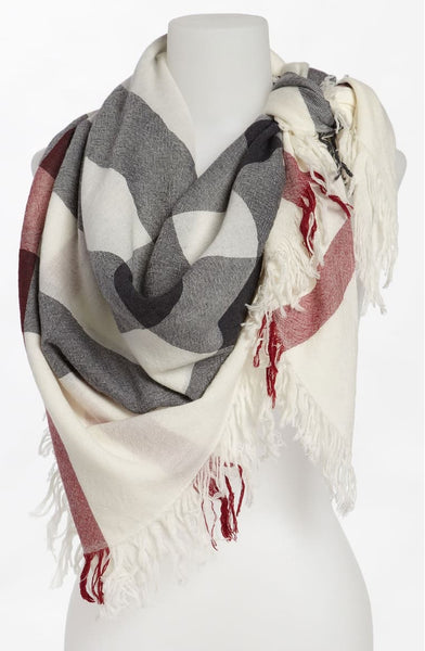 Burberry Large Check Merino Wool Scarf in Ivory
