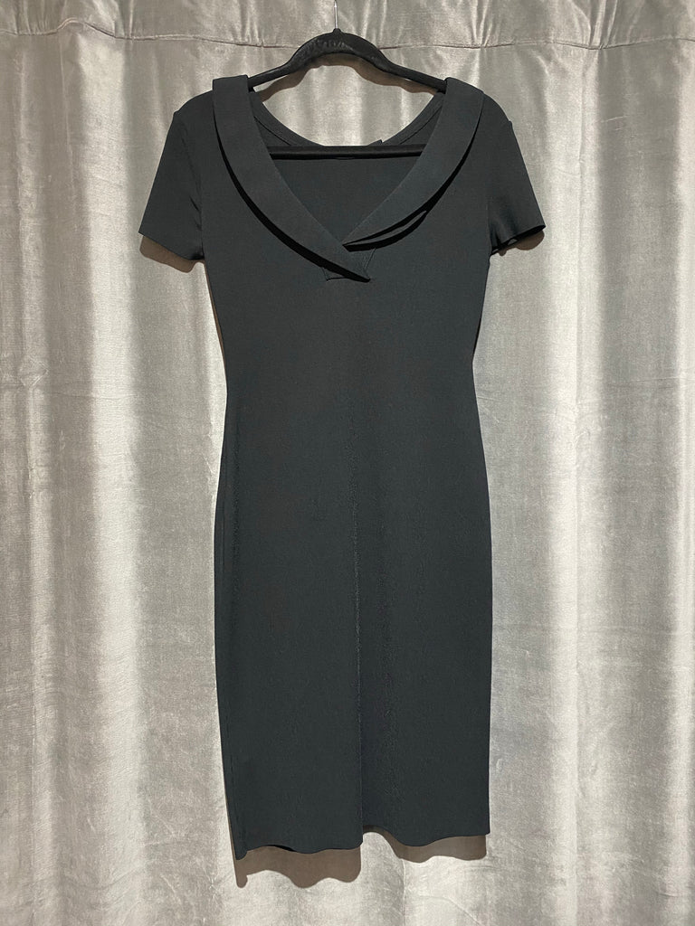Valentino Black Stretch Midi Cap Sleeve Dress