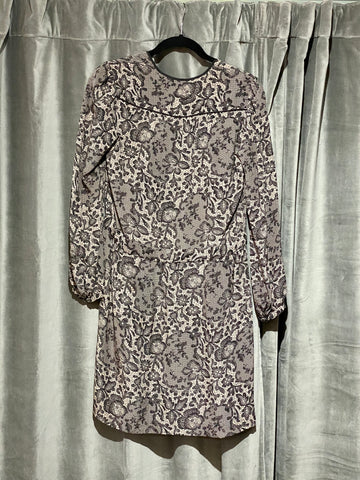 Rebecca Taylor Long Sleeve Lace Print Dress with Ribbon belt