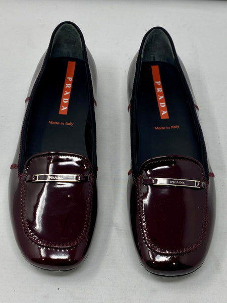Prada Patent Leather Burgundy Square Toe Loafer
