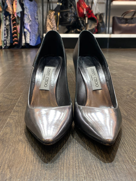 Jimmy Choo silver Toe Black Leather Pump