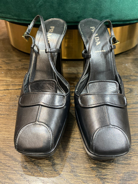 Prada Black Leather Square Toe Slingback