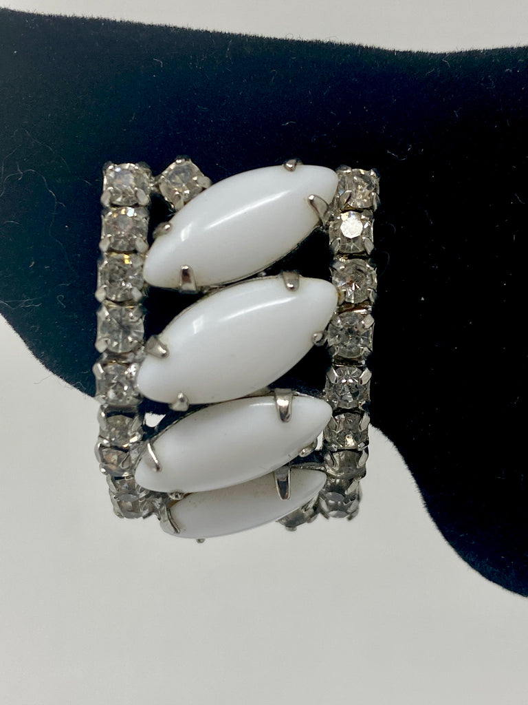 Vintage 50s Kramer White Glass Beaded Clip-On Earrings