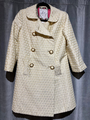 Milly Cream Colored Polka Dot Pattern Coat with Cream and Gold Buttons
