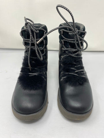 Ugg Leather and Suede Black Waterproof  Fur Lined Lace Up Booties