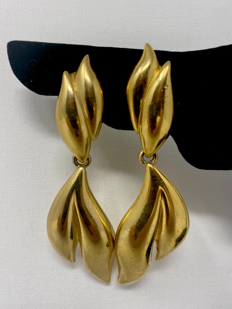Vintage 80s Givenchy Gold-Plated Leaf Clip-On Earrings