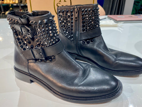 ASH Punky BIS Black Leather Studded Bootie
