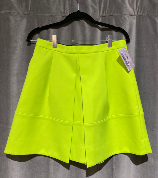 J. Crew Neon Green Short Skirt with Center Pleat