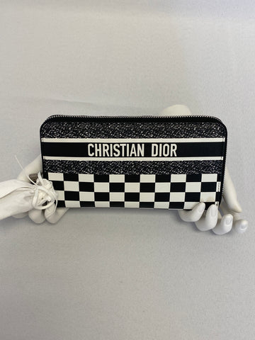 Dior Wallet Black and White Checkered Leather Clutch