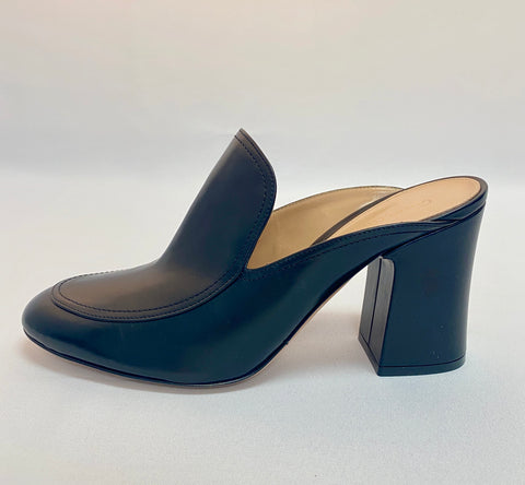Gianvitto Rossi Black Leather Round Toe Mule with Block Heel