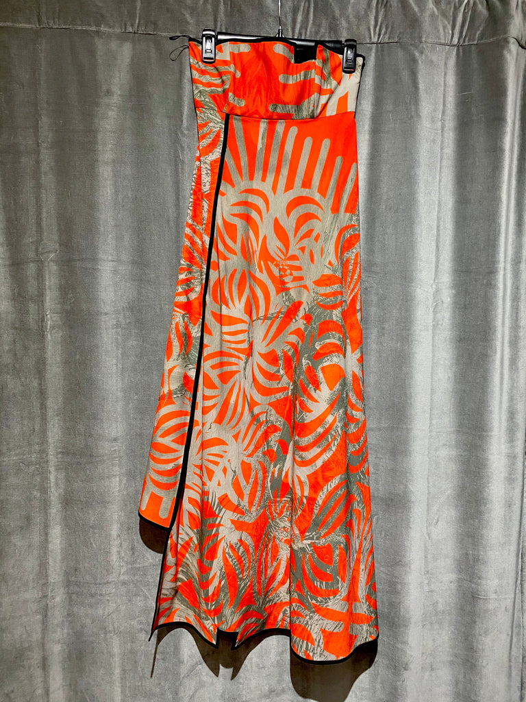 Orange Strapless Grey Palm Print Dress