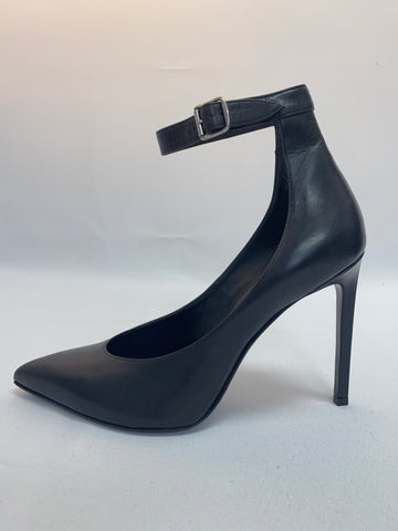YSL Black Leather Pump with Ankle Strap
