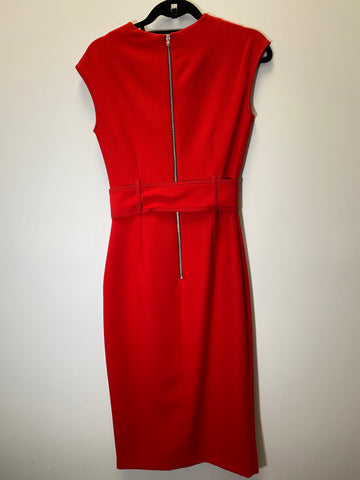 Zara Red Sleeveless Midi Straight Dress