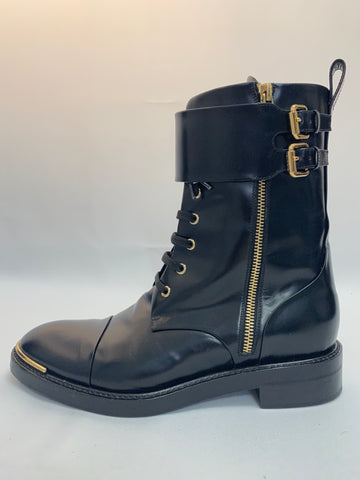 Louis Vuitton Black Leather Boots with Metal Buckle Closure