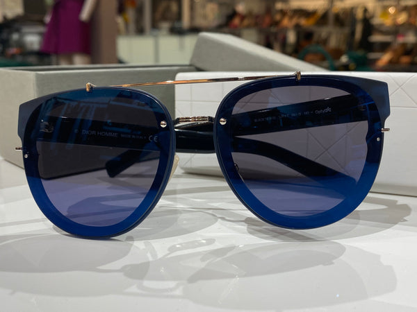 Christian Dior Homme Black Tie Sunglasses in Blue with Blue Lens