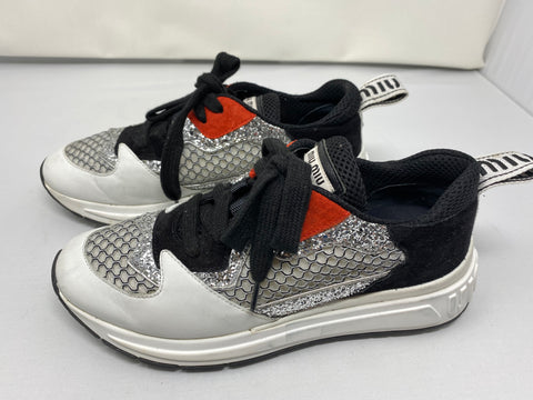 Miu Miu Sneaker with Silver Glitter White Leather and Black Suede