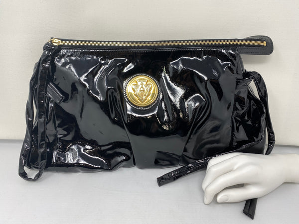 Gucci Black Patent Leather Oversized Clutch