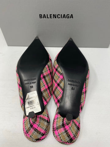 Balenciaga Plaid Kitten Heel Mule