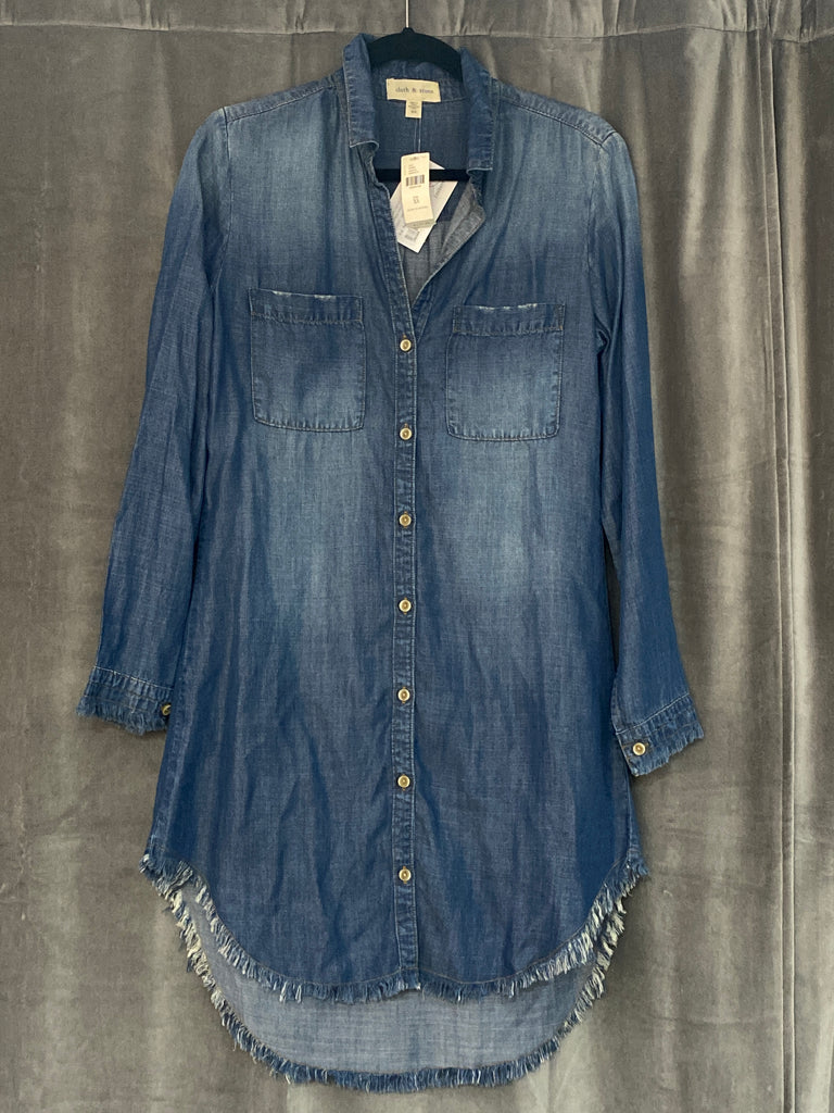 Cloth & Stone Denim Collared Long Sleeve Dress with Unfinished Edges
